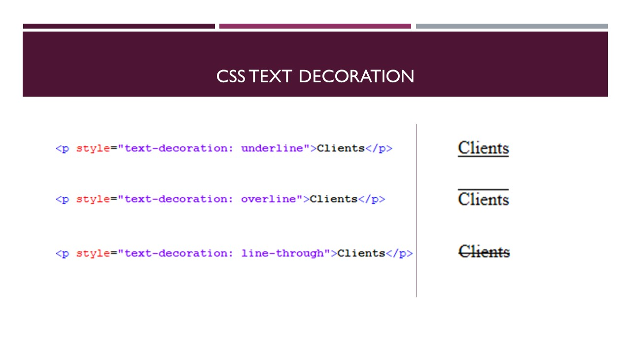 CSS Text Decoration   SHMS - Saudi OER Network