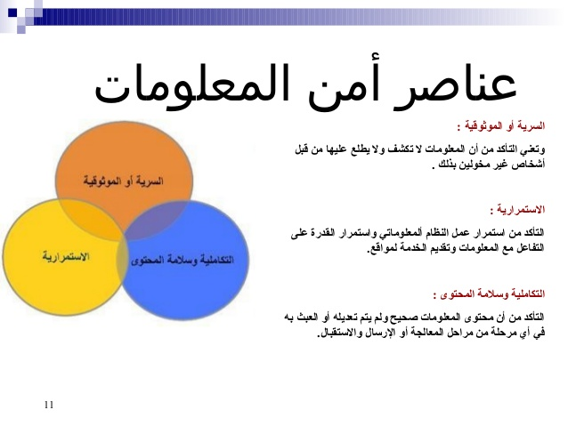 عناصر امن المعلومات