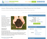 Biorecycling: Using Nature to Make Resources from Waste