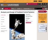 Analysis and Design of Feedback Control Systems, Spring 2014