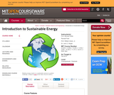 Introduction to Sustainable Energy, Fall 2010