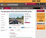 Transportation Policy and Environmental Limits, Spring 2004