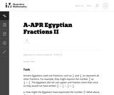 A-APR Egyptian Fractions II
