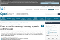 From Sound to Meaning: Hearing, Speech and Language