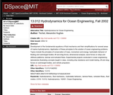 Hydrodynamics for Ocean Engineering, Fall 2002