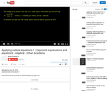 Algebra: Applying Radical Equations (Part 1)