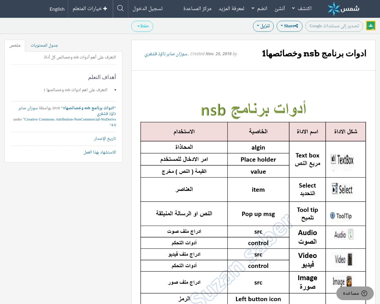 ادوات برنامج nsb وخصائصها1 | SHMS - Saudi OER Network