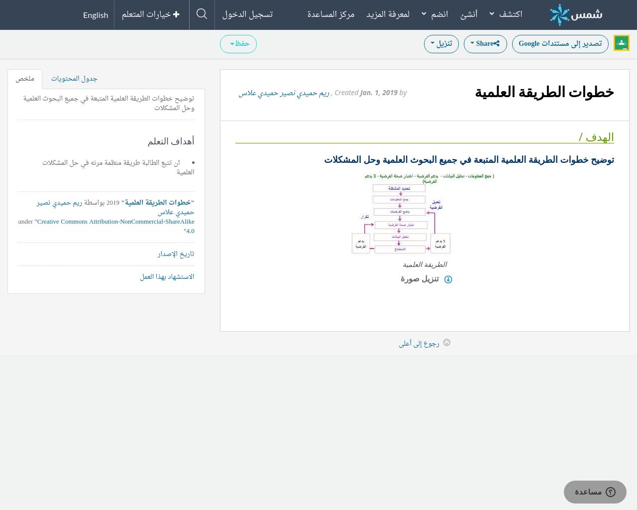 خطوات الطريقة العلمية Shms Saudi Oer Network
